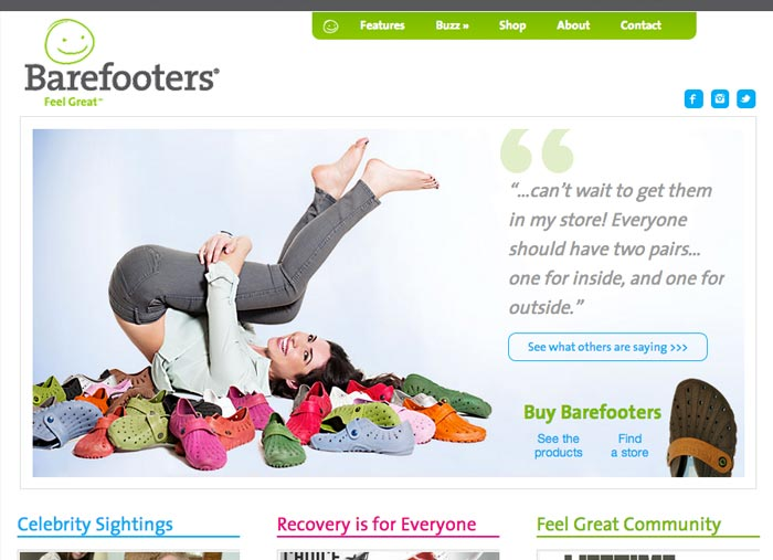 Barefooters website screen capture