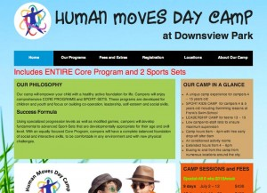 Human Moves Day Camp website