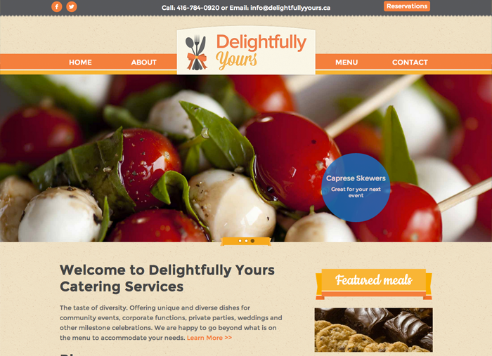 Delightfully Yours website screen capture