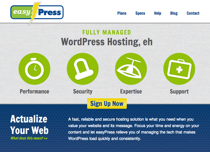 easyPress website screen capture