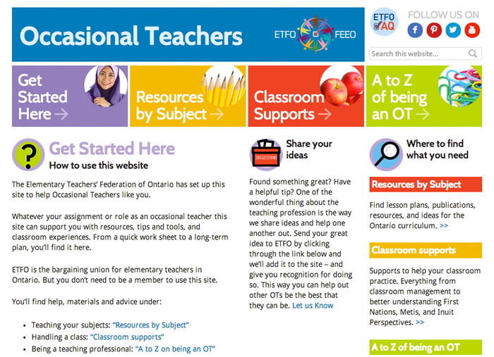 ETFO Occasional Teachers website screen capture