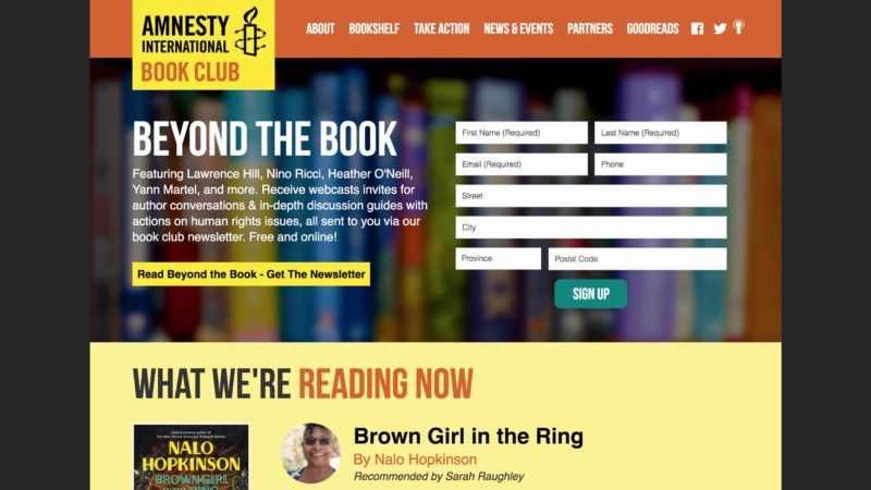 Amnesty Book Club website screen capture