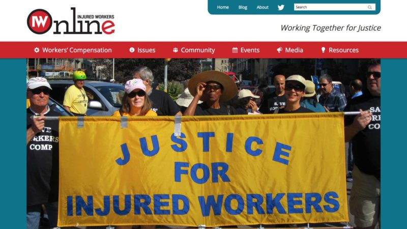 Injured Workers Community Legal Clinic website screen capture