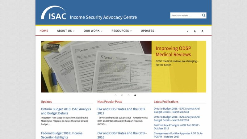 Income Security Advisory Centre website screen capture