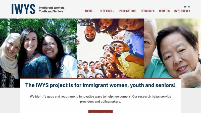 Immigrant Women, Youth and Seniors website screen capture