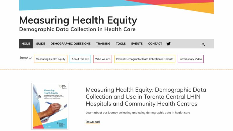 Measuring Health Equity website screen capture