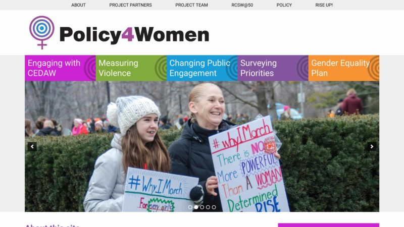 Policy for Women website screen capture