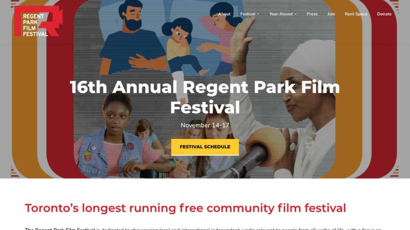 Regent Park Film Festival website screen capture