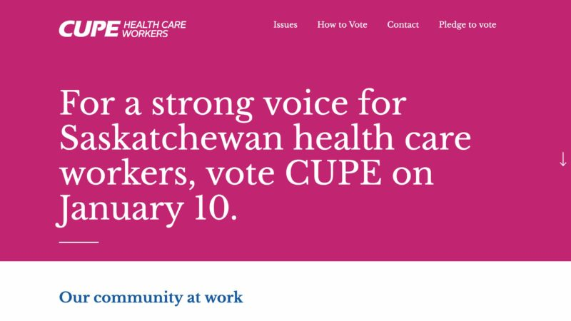 Vote CUPE website screen capture