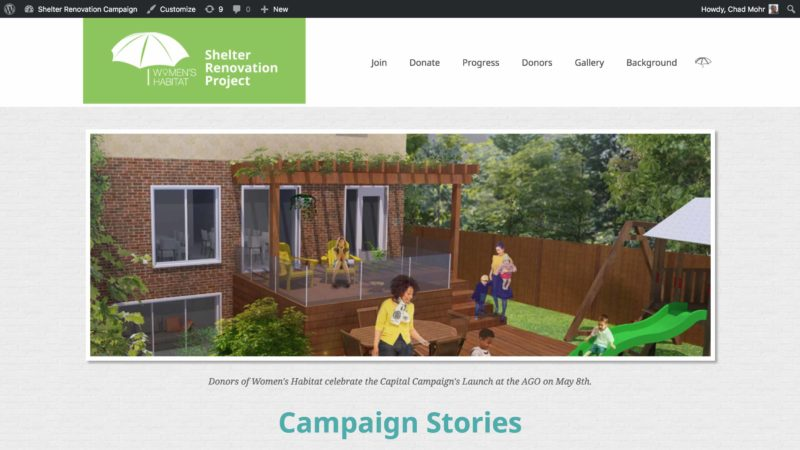 Women's Habitat Campaign website screen capture