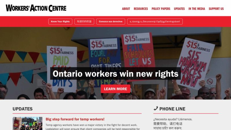 Workers Action Centre website screen capture