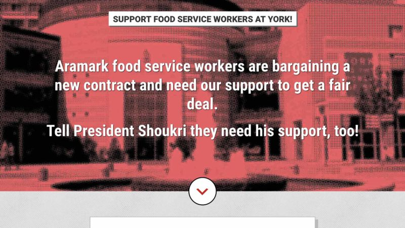 Food Service Workers at York website screen capture