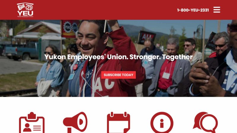 Yukon Employees' Union website screen capture
