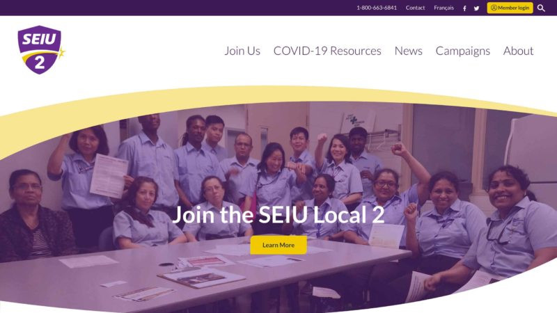 SEIU Local 2 website screen capture